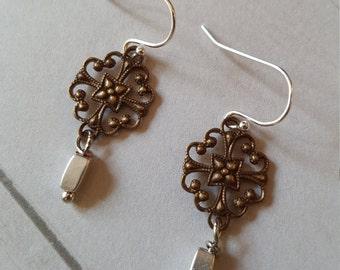 Vintage look brass silver earrings