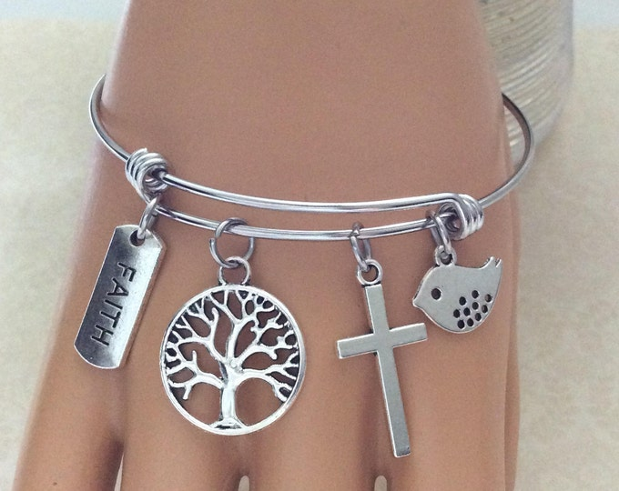 Christian charm bracelet, Tree of Life Jewelry, Faith Jewelry, Christian Gifts, Matthew 17:20, Scripture, Christian Bangle Bracelet