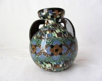 Gerbino Vallauris ceramic vase with 3 handles amphora - 20809 flowers decor
