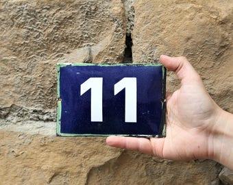 Address Sign - Door Sign 11 - Vintage Enamel House Number - House Number Plate - Door Number - Enamel Plate - French Number Sign