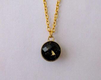 Gold Leaf Pendant Necklace - Black Series