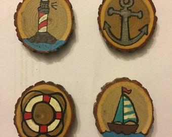 Out To Sea Magnet Set, Stocking Stuffer, Gift Idea, Under 15, Hand Painted Magnets, Wood Magnets, Seas the Day Magnets
