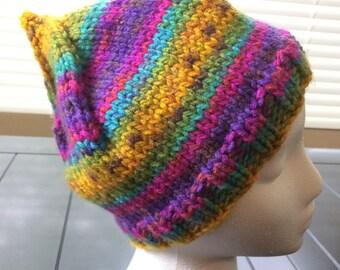 Knitted Child's Pixie Hat, Rainbow Pixie Hat