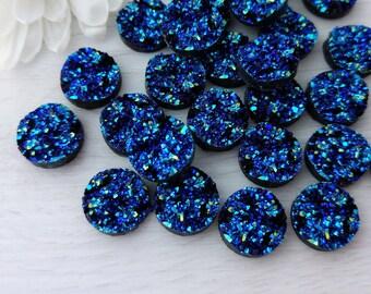 Titanium Blue Cabochons, Druzy Resin Cabs, 12mm Cabochons, Resin Cabochons, FBC128