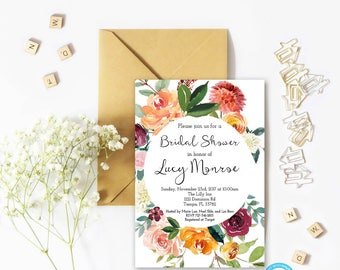 Floral Bridal Shower Invitation, Template, Floral Invitation Template, Bridal Shower Invitation, You Edit, Boho Bridal Shower Invitation