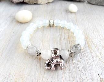 Beaded Bracelets Womens gift Gemstone bracelet elephant fertility bracelet string bracelet animal birthday gift Lucky elephant charm