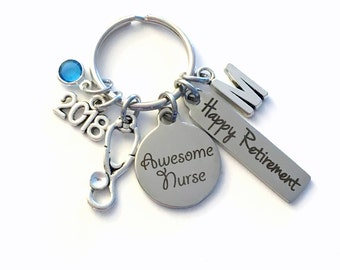 Nurse Retirement Gifts for Nurse Keychain, 2018 Registered Nursing Keyring, Awesome Retire Key Chain, Present him her women Men Stethoscope