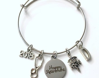 Retirement Gift for Women RN Nurse, 2018 or 2017 Charm Bracelet Jewelry Silver Bangle Coworker Head initial initial Present woman Nursing