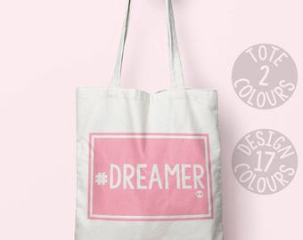 Dreamer eco-friendly canvas tote bag, mothers day present for women, demonstration march, asylum seeker refugees welcome, human rights