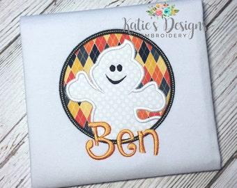 Halloween Applique Shirt, Ghost Applique, Boys Halloween, Boys Shirt, Halloween Ghost, Boys Shirt, Personalized, Monogrammed, Halloween, Boy