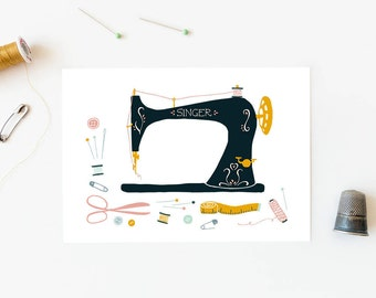 Postcard vintage sewing machine, card sewing love, crafty cards, snail mail, creativity notecard, sewing pattern, gift seamstress, diy gift