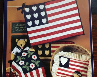 Little Quilts flag collection, small flag Quilts, Nine Hearts flag quilt, President's Wreath flag, Variable Star flag, scrap flag pillow