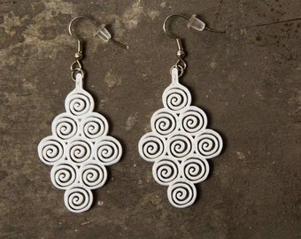 White Swirl Earrings / 3D Printed Earrings