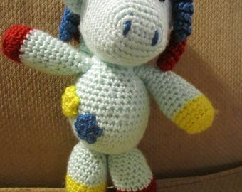 Handmade, Crocheted Unicorn with Flower Patches