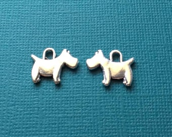 10 Scottish Terrier Dog Charms Silver Scottie Dog Charms - CS2935