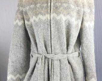 Hilda Ltd Womens Sweater Jacket Coat Fuzzy Nordic Wool Icelandic Zip Large Hood