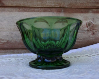 Emerald Green Glass Anchor Hocking Footed Bowl /1960s/Christmas Decor/ Thumbprint Design