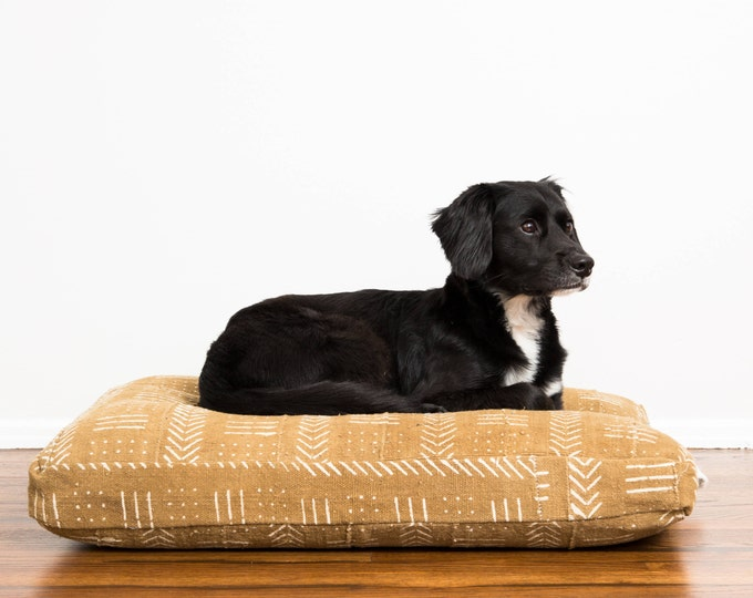 Sand Mudcloth Dog Bed // Medium