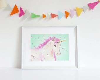 Unicorn Print, Unicorn Wall Art, Gifts for girls, Girls Room Art, Girls Art Print, Kids Art, Kids Print, Unicorn Gift, Girls Decor