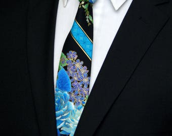 Floral Necktie, Floral Tie, Mens Necktie, Mens Tie, Asian Necktie, Black Tie, Blue Necktie, Fathers Day, Birthday, Gift, Wedding, Bride, Dad