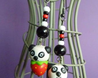 Long earrings metal Platinum panda kawaii on its strawberry polymer clay