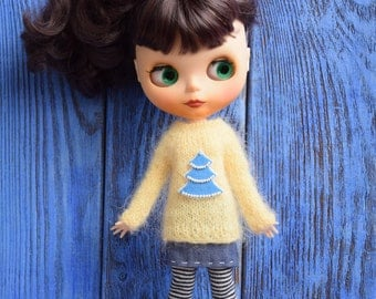 Sweater for Blythe Christmas tree Blythe new Year outfit Blythe doll clothes Blythe jumper Blythe light yellow sweater Blythe Christmas wear