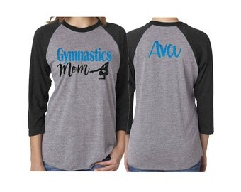 Glitter Gymnastics Mom Baseball Shirt|3/4 Sleeve Raglan |Customize with your Team & Colors