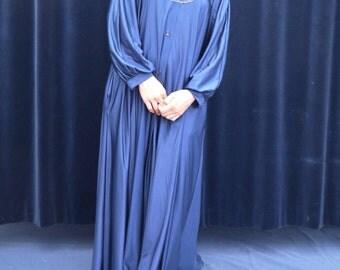 1970s Robe 70s Vintage Robe Blue Maxi Home dress Trapeze Tent Dress Poet sleeve Boho Renaissance Robe medium large