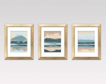 Mid Century Wall Art, Set Of Three Prints, Modern Art, Contemporary  Landscape Prints