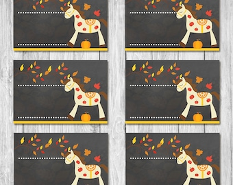Autumn / Fall Birthday Horse Food Tents - Chalkboard - Fall Pony Ride Party Food Labels -  Horse Party Favor - Horse Birthday Placecards
