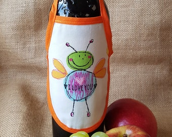Wine Bottle Apron, I love you, Novelty Gift, Unique Gift Idea, Wine Bottle Cozy, Valentine's Day Gift, Love, Lovers, Gift for Her
