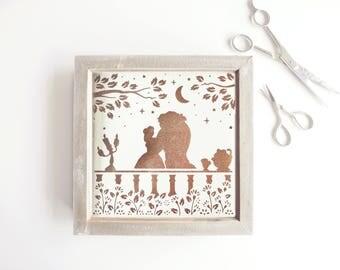 Framed Disney Papercut / Wall Art / Nursery Wall Art / Disney / Princess Papercut / New Baby Gift / Beauty and the Beast / Disney Art