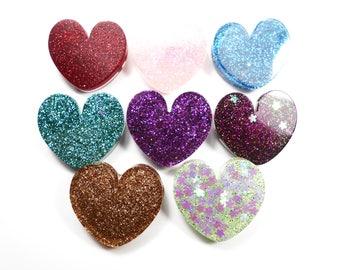 PIN kawaii heart resin with glitter