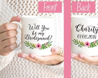 "Will You be my Bridesmaid Mug Bridesmaid Gift Bridesmaid Proposal Request Bridesmaid Mug Watercolor Floral Mug ""Pink Blossom"" Wedding Mug"