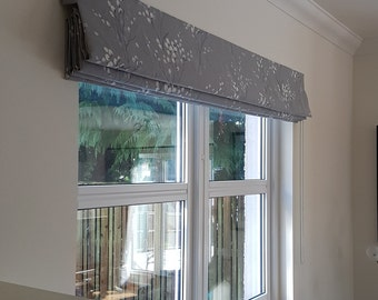 Interlined roman blind, laura ashley linen fabric, pussy willow, steel grey colour, made to measure, custom curtains