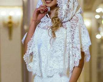 Wedding hood, wedding cape, wedding tippet, wedding veil, Wedding cape on shoulders, wedding pelerine