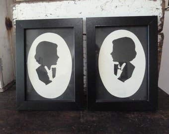 charming pair of vintage silhouettes / c 1950 / hand cut silhouette / john ross / nsw australia
