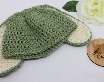 Bunny Crochet Beanie, Size 3-6 months, Easter, Baby beanie, Olive