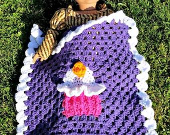 Crochet Cupcake Blanket for 18 Inch Dolls / Doll Afghan PATTERN PDF instant digital download