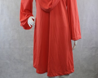Coral Go-Go Dancer Disco Dress 1960s Long Wide Bell Sleeve Draped Neck Short Coral Pink Dress Butterfly Creations NWT NOS Medium Deadstock