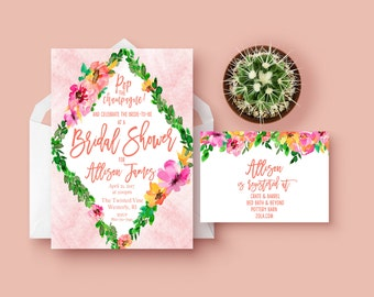 Boho Bridal Shower Invitation | Printable Invitation | Custom Invitations | Bridal Shower | Boho Bride | Floral Invitations | Custom Invites