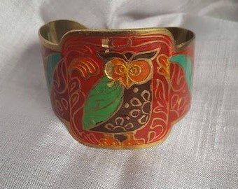 Vintage Cloisonne Owl Cuff Bracelet/1980's Vintage Cuff/Multi-Color Owl Cuff/Made in India