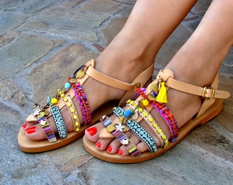 """FREE SHIPPING Boho Greek Sandals """"Bahamas"""" / Leather Flat Sandals / Colorful Strappy Sandals / Swarovski Crystal Sandals / Womens Shoes"""