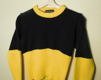 Vintage 80's Black & Yellow Cinched Sweater