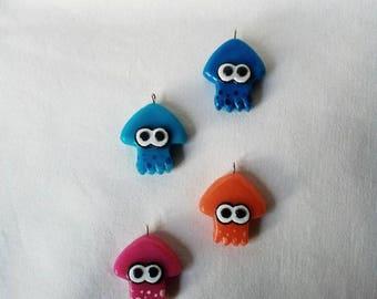 Splatoon - Squid - (Inspired) - Polymer clay - Charm - Handmade