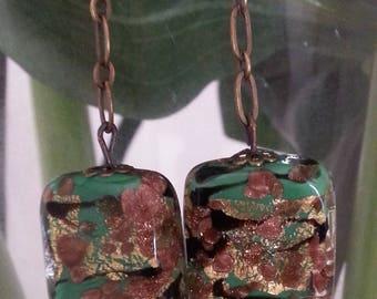 Green - aventurine and gold foil Murano glass earrings.