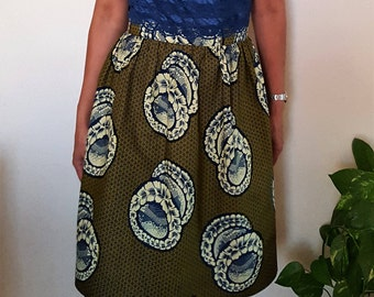 Skirt, Gathered skirt, African Print skirt