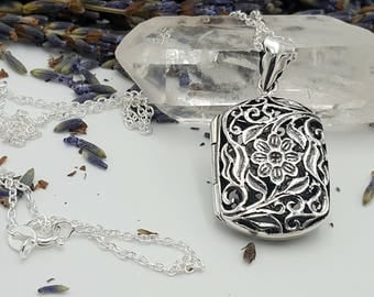 Sterling Silver Diffuser Necklace - Antique Style Floral Filigree Locket - Silver Aromatherapy Jewelry - Flower & Leaves Square Design
