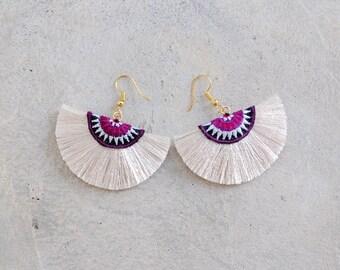 Small Handmade Off-White Half Moon Tassel Earrings