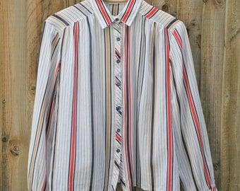 Vintage nautical stripe shirt Cotton Size small (8-10) red white navy